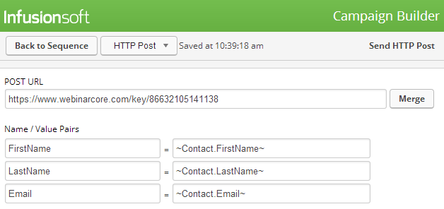 Your HTTP Post won't work unless you add FirstName, LastName, and Email!